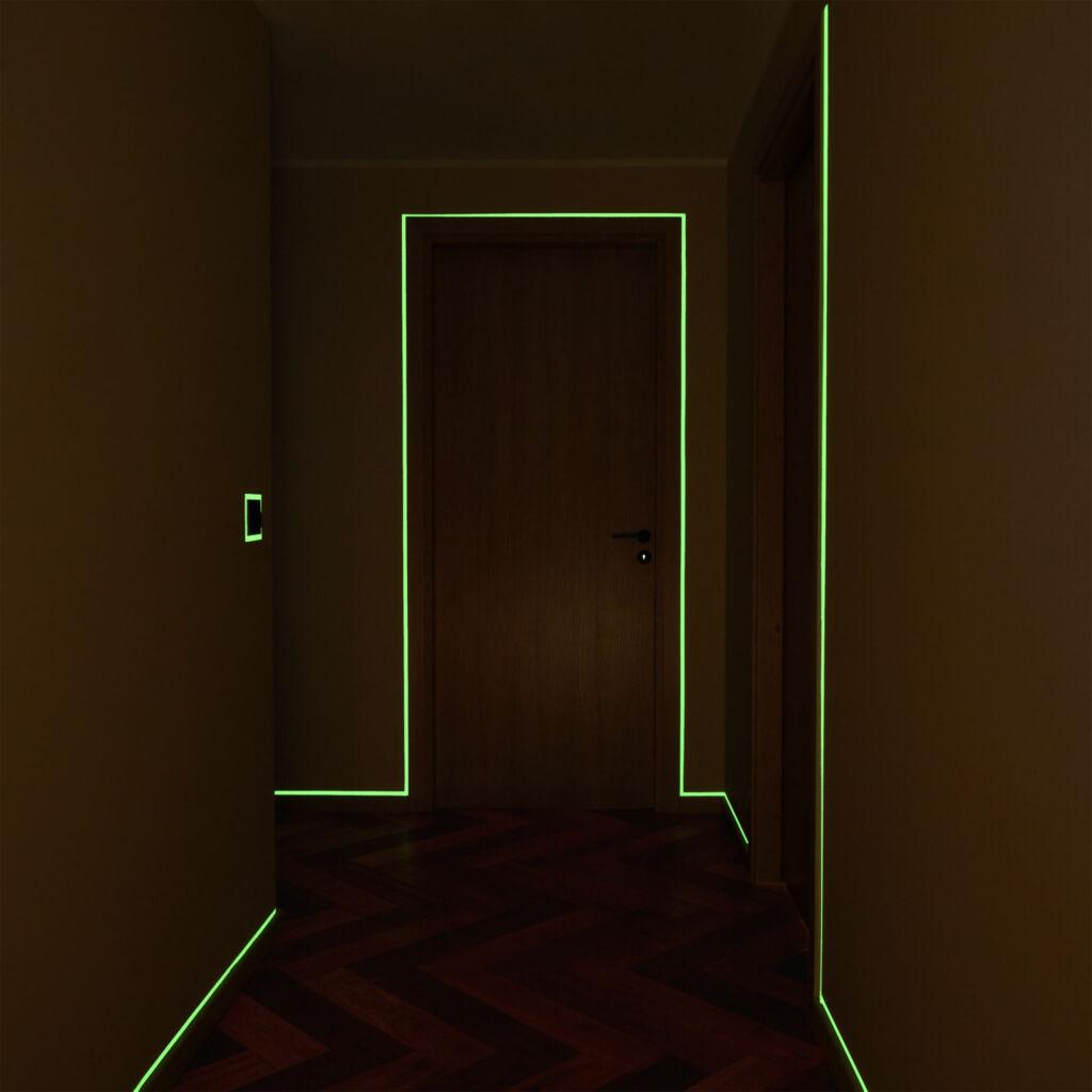 Glow in the dark tape on door frame