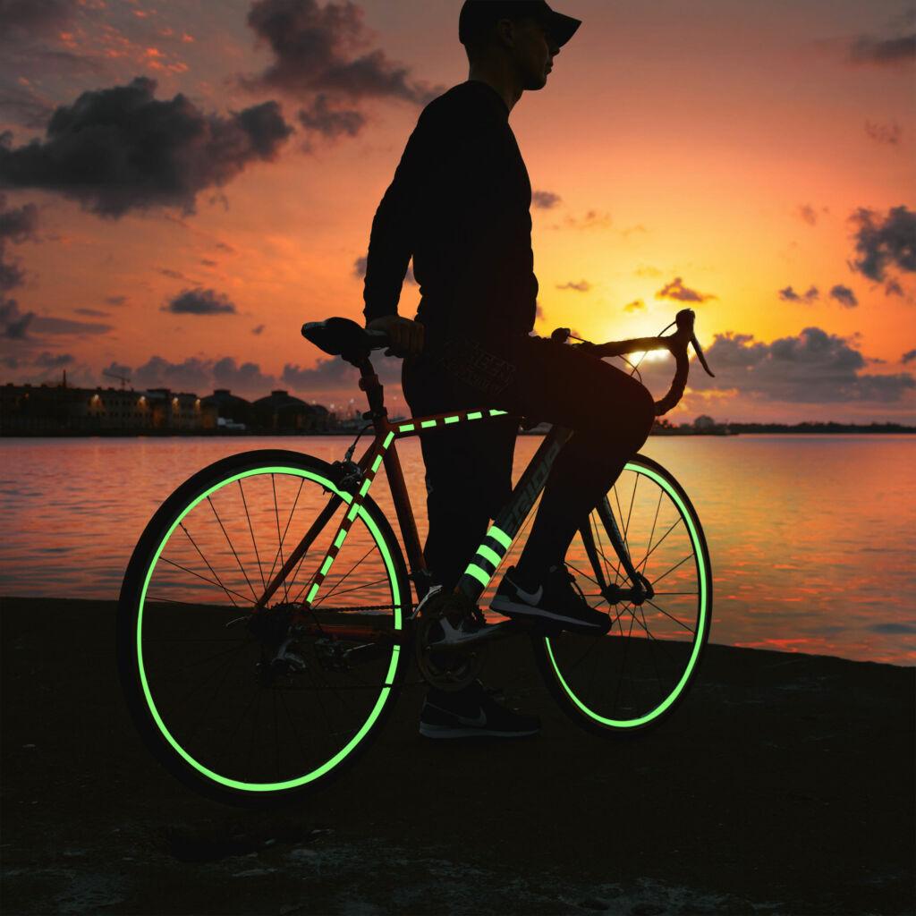 Glow tape on bike